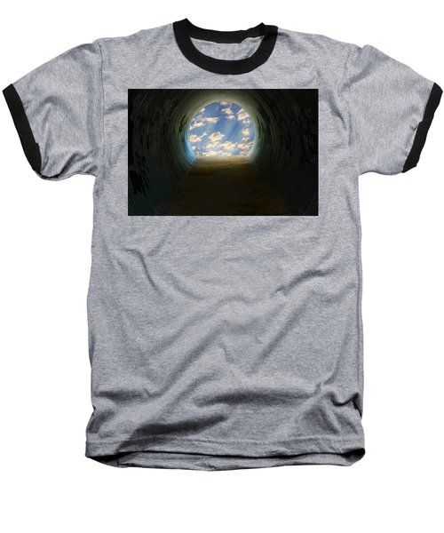 Tunnel With Light Baseball T-Shirt by Melinda Fawver
