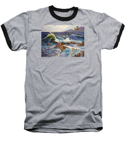 Baseball T-Shirt featuring the painting Turbulent Waters Hawaii by Jenny Lee