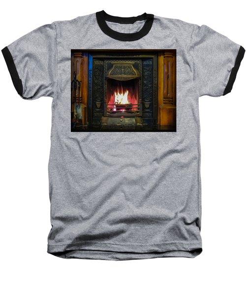 Turf Fire In Irish Cottage Baseball T-Shirt