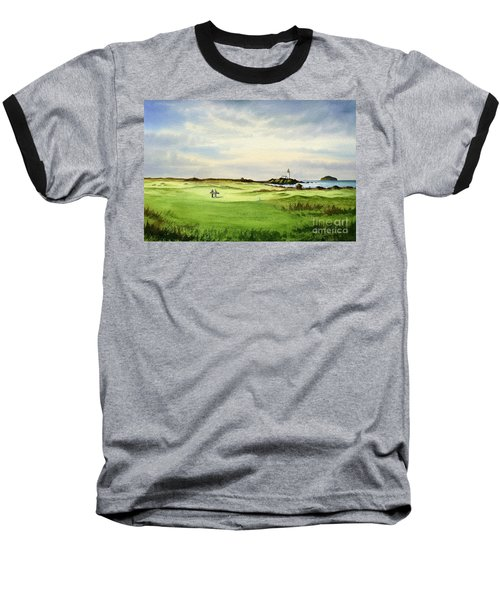 Baseball T-Shirt featuring the painting Turnberry Golf Course Scotland 12th Tee by Bill Holkham