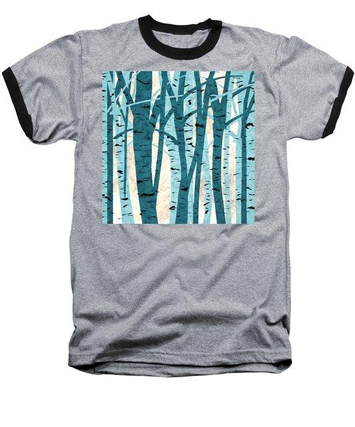Turquoise Birch Trees Baseball T-Shirt