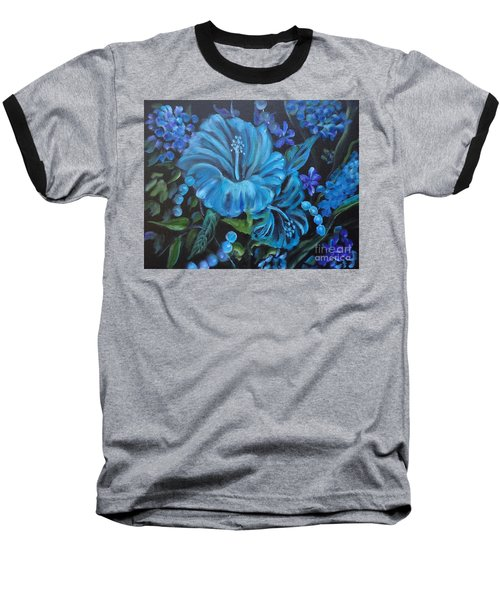 Turquoise Hibiscus Baseball T-Shirt by Jenny Lee
