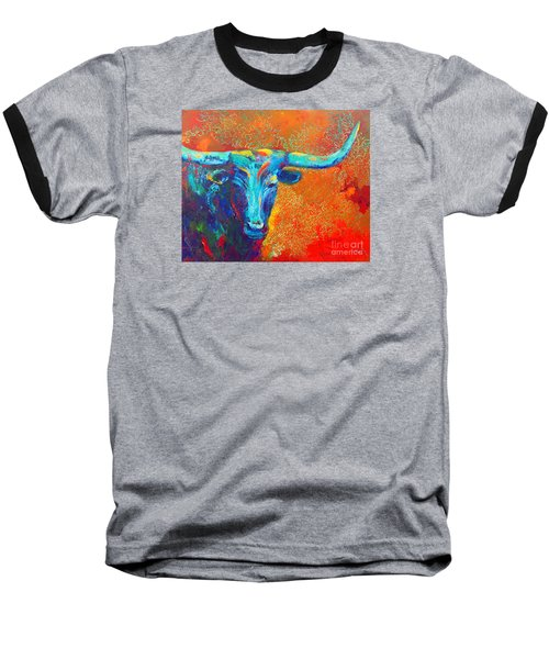 Baseball T-Shirt featuring the painting Turquoise Longhorn by Karen Kennedy Chatham