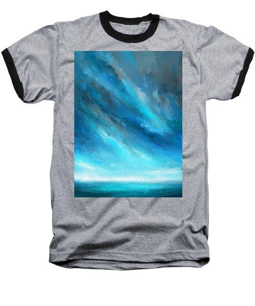Turquoise Memories - Turquoise Abstract Art Baseball T-Shirt
