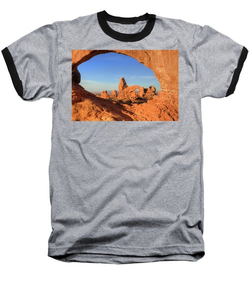 Baseball T-Shirt featuring the photograph Turret Arch Through North Window by Alan Vance Ley