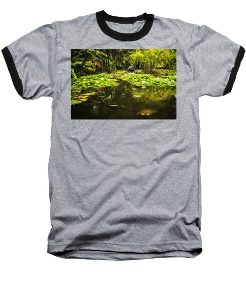 Turtle In A Lily Pond Baseball T-Shirt by Belinda Greb