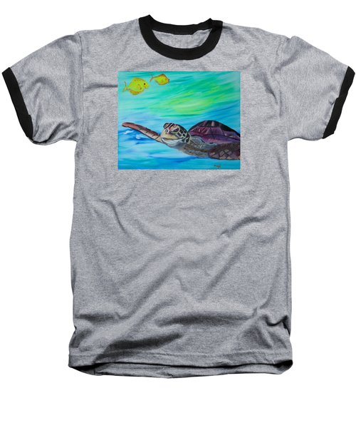 Baseball T-Shirt featuring the painting Traveling Through by Meryl Goudey