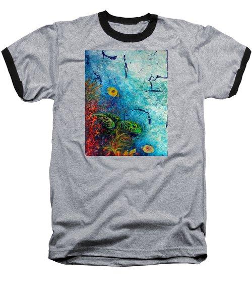 Turtle Wall 1 Baseball T-Shirt by Ashley Kujan