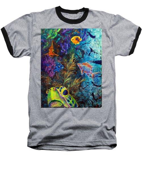 Turtle Wall 3 Baseball T-Shirt by Ashley Kujan