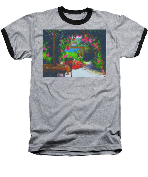 Baseball T-Shirt featuring the painting Tuscan Courtyard by Tim Gilliland