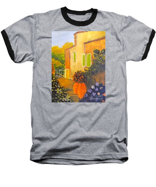 Baseball T-Shirt featuring the painting Tuscany Courtyard by Pamela  Meredith