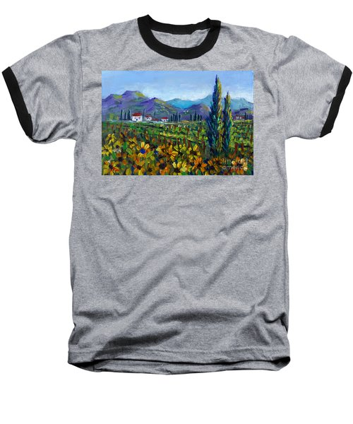 Baseball T-Shirt featuring the painting Tuscany Sunflowers Miniature by Lou Ann Bagnall