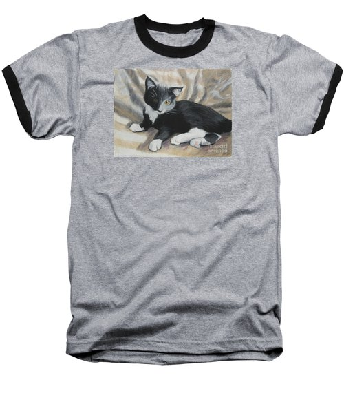Baseball T-Shirt featuring the painting Tuxedo Kitten by Jeanne Fischer