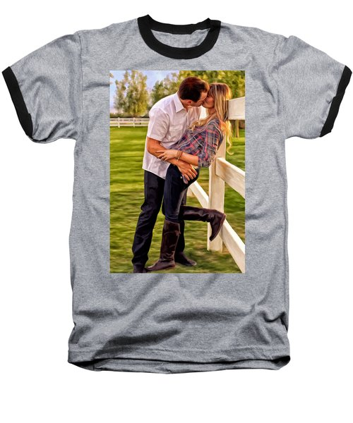 Baseball T-Shirt featuring the painting Twas Not My Lips You Kissed But My Soul by Michael Pickett