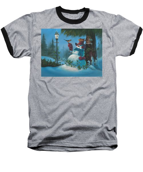 Baseball T-Shirt featuring the painting Tweet Dreams by Michael Humphries