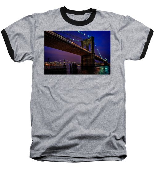 Twilight At The Brooklyn Bridge Baseball T-Shirt