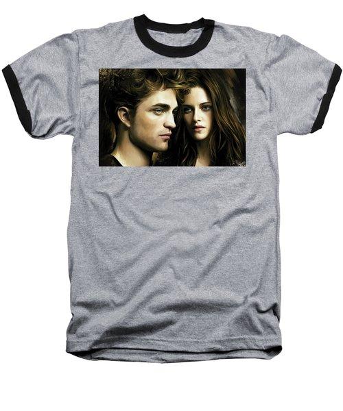Baseball T-Shirt featuring the painting Twilight  Kristen Stewart And Robert Pattinson Artwork 4 by Sheraz A