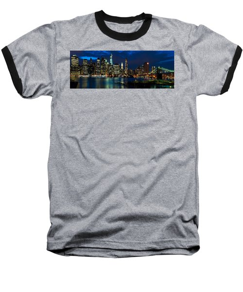 Twilight Nyc Panorama Baseball T-Shirt
