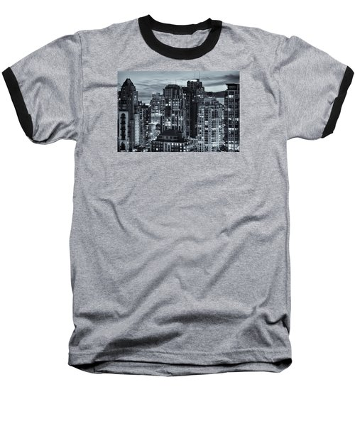 Baseball T-Shirt featuring the photograph Twilight On Cityscape Of Vancouver Overlooking English Bay - Greeting Card by Amyn Nasser
