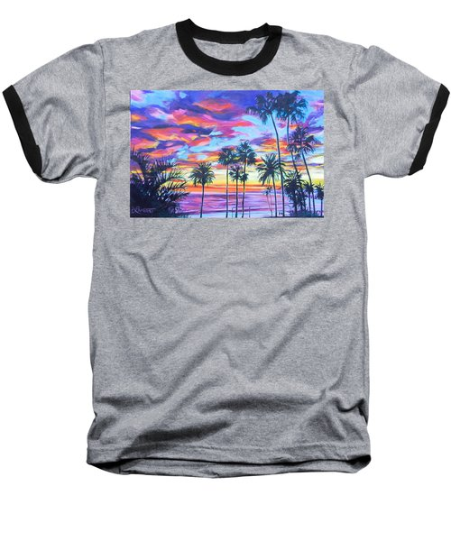 Twilight Palms Baseball T-Shirt by Bonnie Lambert