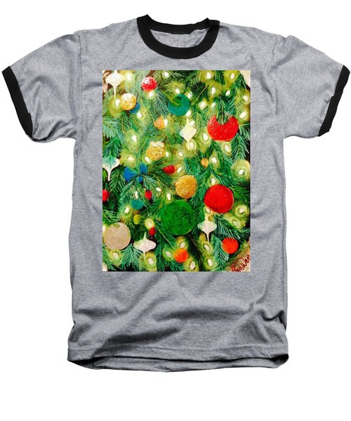 Twinkling Christmas Tree Baseball T-Shirt