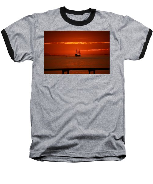 Two 3-masted Schooners Sail Off Into The Santa Rosa Sound Sunset Baseball T-Shirt by Jeff at JSJ Photography