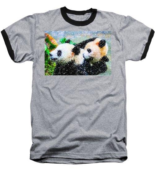 Two Cute Panda Baseball T-Shirt by Lanjee Chee