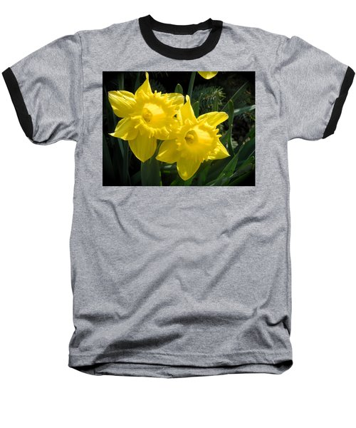Baseball T-Shirt featuring the photograph Two Daffodils by Kathy Barney