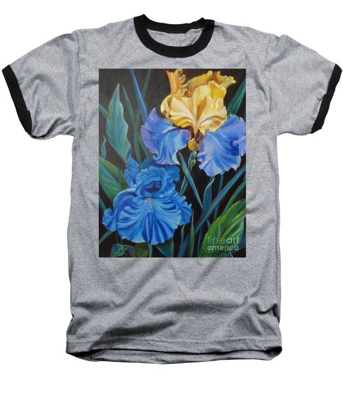 Baseball T-Shirt featuring the painting Two Fancy Iris by Jenny Lee