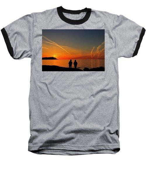 Two Friends Enjoying A Sunset Baseball T-Shirt