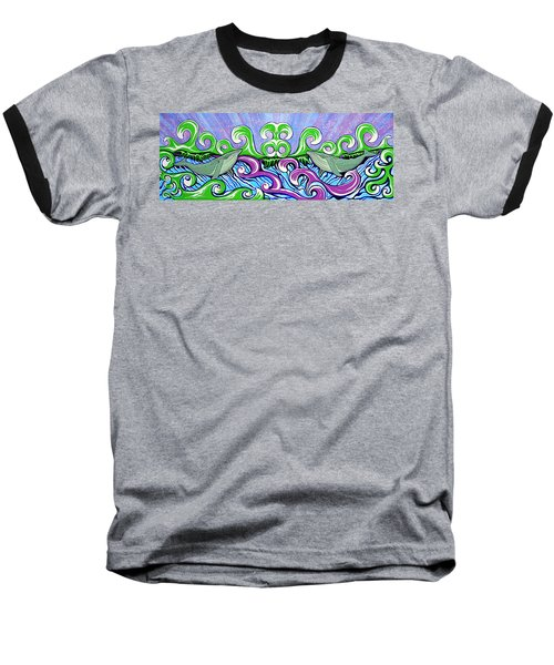 Baseball T-Shirt featuring the painting Two Gray Whales by Debbie Chamberlin