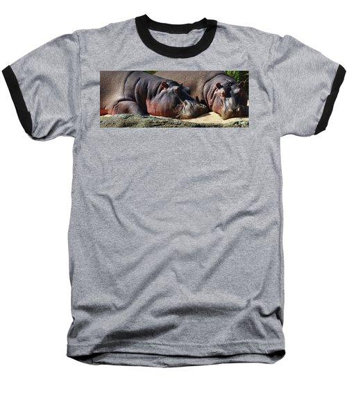Two Hippos Sleeping On Riverbank Baseball T-Shirt