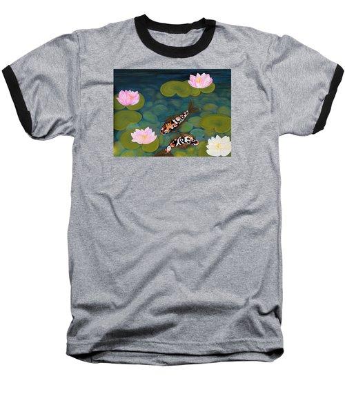 Two Koi Fish And Lotus Flowers Baseball T-Shirt