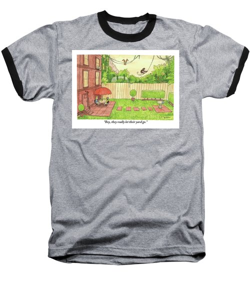 Two People Sitting On Their Back Patio Baseball T-Shirt