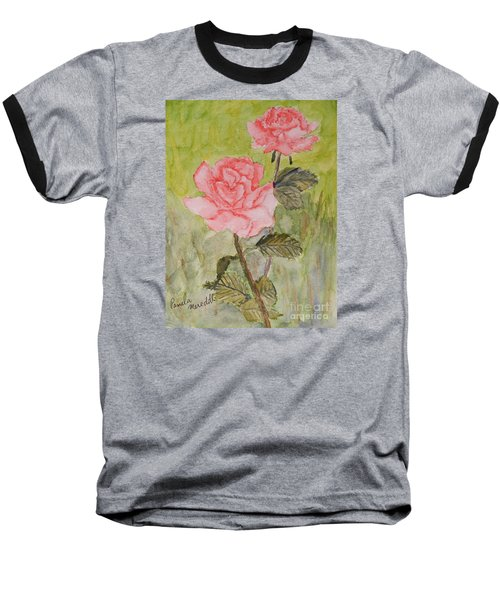 Two Pink Roses Baseball T-Shirt by Pamela  Meredith