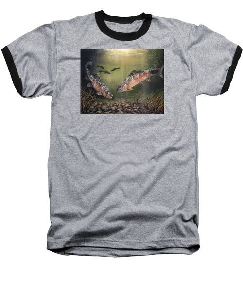 Two Rainbow Trout Baseball T-Shirt by Donna Tucker