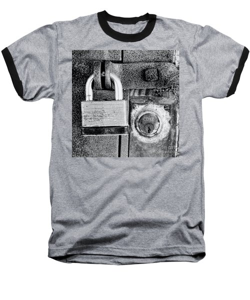 Two Rusty Old Locks - Bw Baseball T-Shirt