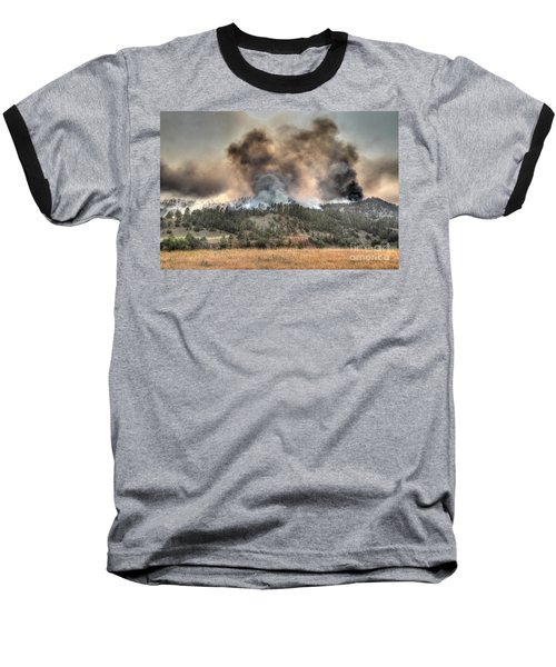 Two Smoke Columns White Draw Fire Baseball T-Shirt