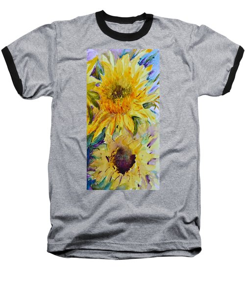 Two Sunflowers Baseball T-Shirt by Beverley Harper Tinsley
