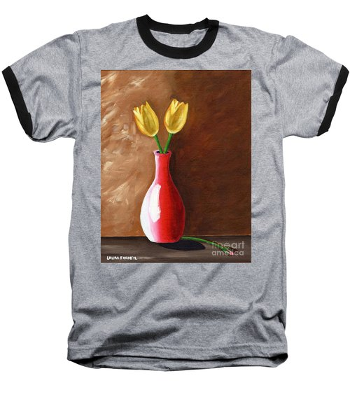 Two Tulips And A Pink Rose Baseball T-Shirt