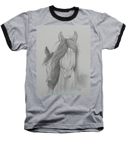 Two Wild Horses Baseball T-Shirt