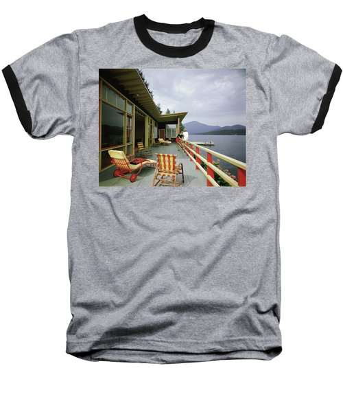 Two Women On The Deck Of A House On A Lake Baseball T-Shirt