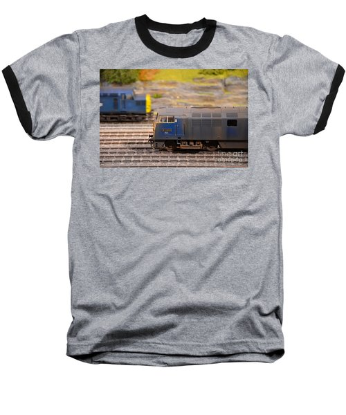 Baseball T-Shirt featuring the photograph Two Yellow Blue British Rail Model Railway Train Engines by Imran Ahmed