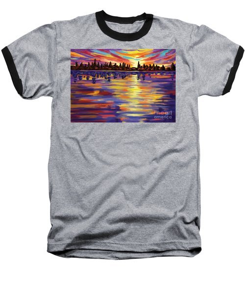 Baseball T-Shirt featuring the painting Tyler's Sunrise by Tim Gilliland