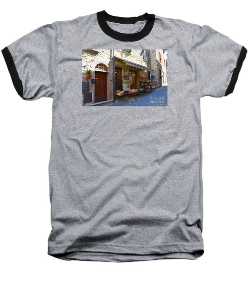 Baseball T-Shirt featuring the photograph Typical Small Shop In Tuscany by Ramona Matei