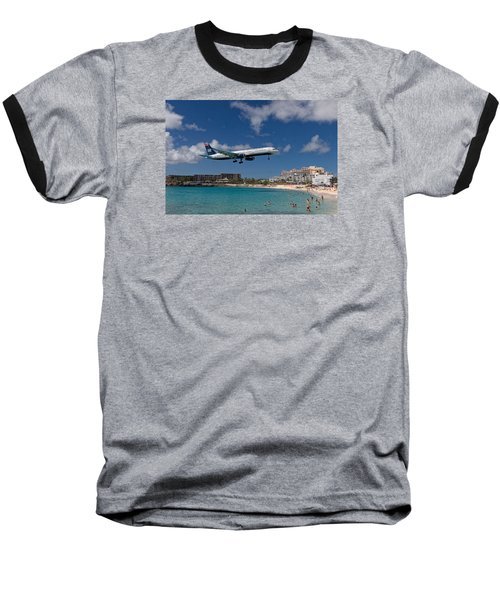 U S Airways Low Approach To St. Maarten Baseball T-Shirt by David Gleeson