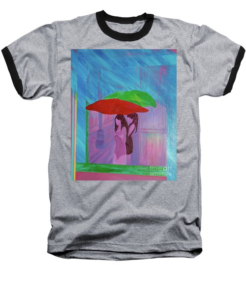 Baseball T-Shirt featuring the painting Umbrella Girls by First Star Art