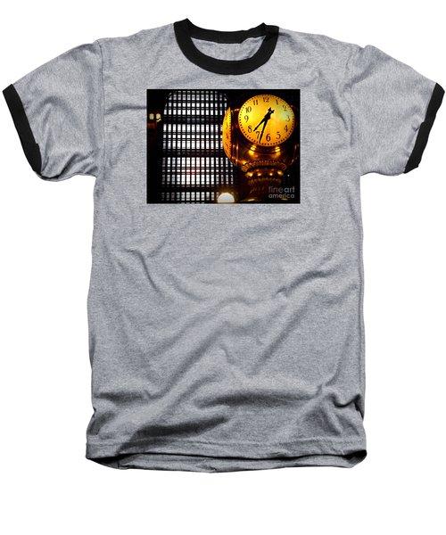 Under The Famous Clock Baseball T-Shirt by Miriam Danar