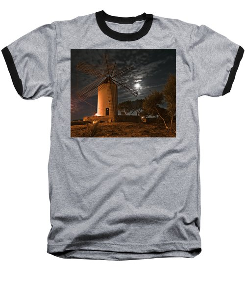 Vintage Windmill In Es Castell Villacarlos George Town In Minorca -  Under The Moonlight Baseball T-Shirt