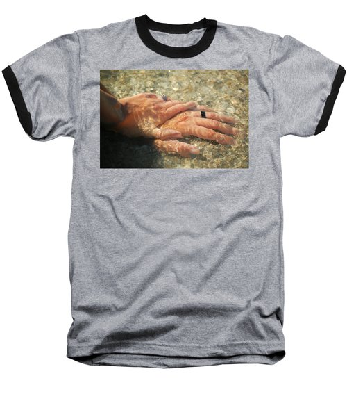 Baseball T-Shirt featuring the photograph Underwater Hands by Leticia Latocki